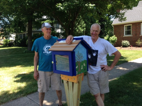 Bob Byrne and Rick Brooks show off one of the many Little Free Libraries popping up in your local neighborhoods.  You can find this one at Euclid and Thompson in Princeton. Borrow any book, or donate one for others to read.